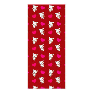 Cute red dog hearts pattern full color rack card
