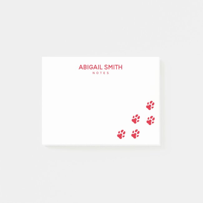 Cute Red Dog Paw Prints - Personalized