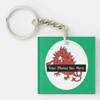 Cute Red Dragon Acrylic Keychain to Personalize