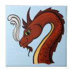 Cute Red Dragon Head Ceramic Tile