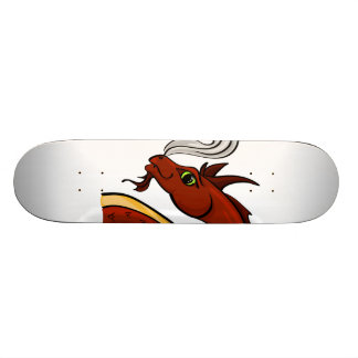 Cute Red Dragon Head Skateboard