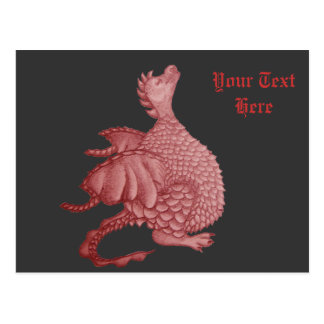 cute red dragon mythical and fantasy creature art postcard