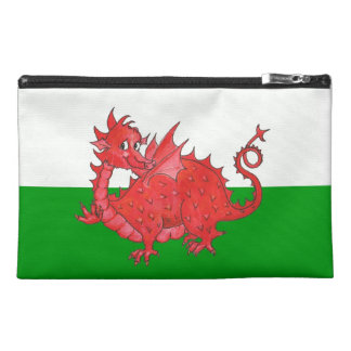 Cute Red Dragon on Green and White Accessories Bag