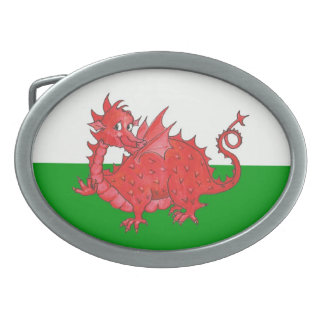 Cute Red Dragon on Green and White Belt Buckle