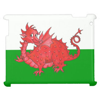 Cute Red Dragon on Green and White iPad Case