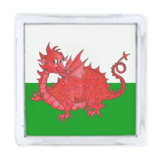 Cute Red Dragon on Green, White Square Lapel Pin