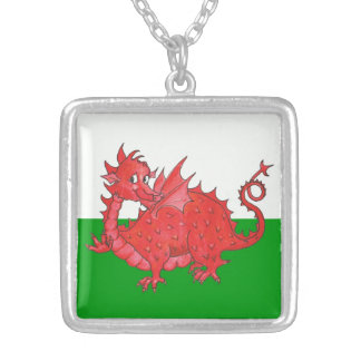 Cute Red Dragon on Green, White Square Necklace