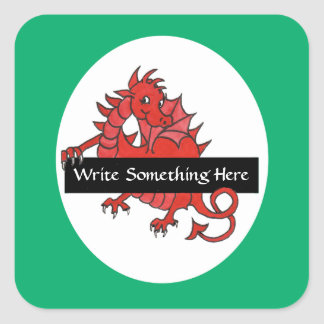 Cute Red Dragon Sheet of Stickers to Personalize