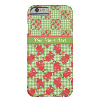 Cute Red Dragons on Green and White Check Gingham Barely There iPhone 6 Case