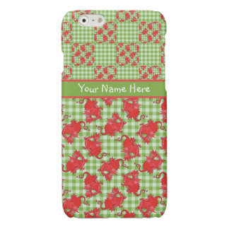 Cute Red Dragons on Green and White Check Gingham Glossy iPhone 6 Case
