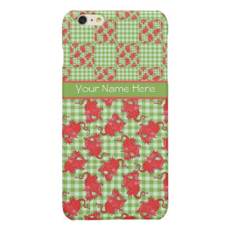 Cute Red Dragons on Green and White Check Gingham Glossy iPhone 6 Plus Case