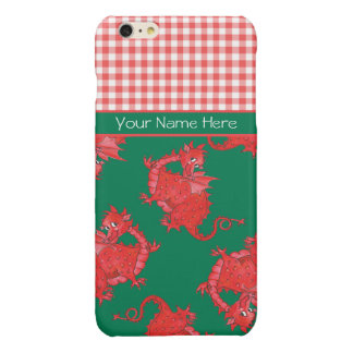 Cute Red Dragons on Green, Red White Check Gingham Glossy iPhone 6 Plus Case