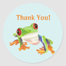 Cute Red Eye Tree Frog Thank you Stickers