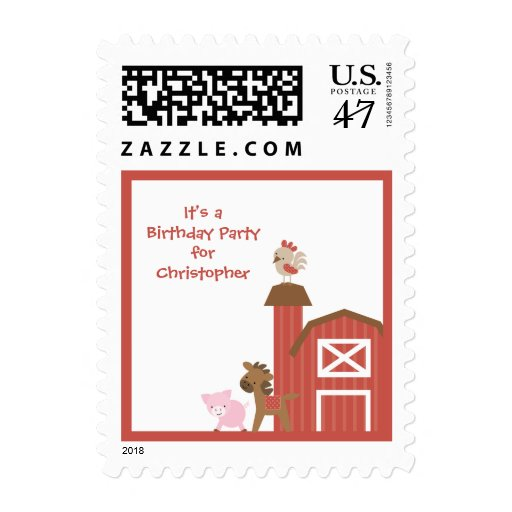 Cute red farm animals boy's birthday party stamps