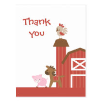 Cute red farm animals boy's thank you postcard