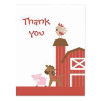 Cute red farm animals boy's thank you postcard