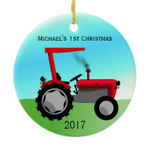 Cute Red Farm Tractor Baby's First Christmas Ceramic Ornament