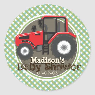 Cute Red Farm Tractor; Green Plaid Baby Shower Classic Round Sticker