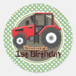 Cute Red Farm Tractor Green Plaid Birthday Sticker
