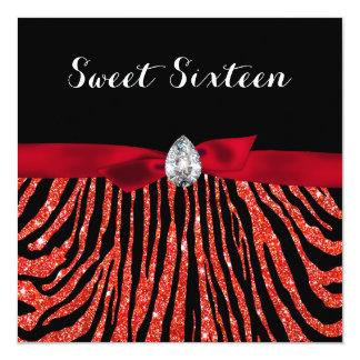 Cute Red Faux Glitter Zebra Pattern Sweet Sixteen Card