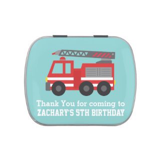 Cute Red Fire Truck Birthday Party Favors Candy Tin