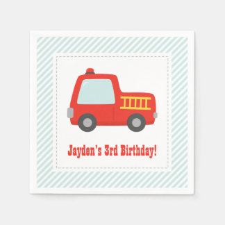 Cute Red Fire Truck Boys Birthday Party Supplies Napkin