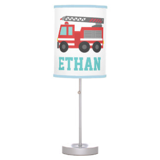 Cute Red Fire Truck for Boys Bedroom Desk Lamp