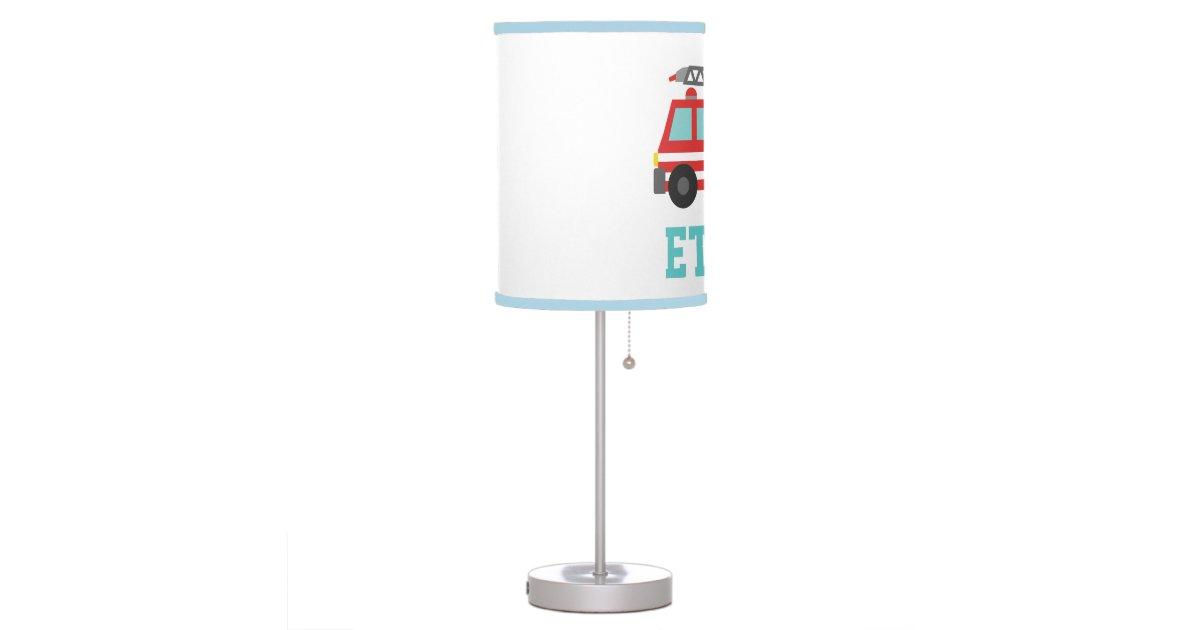 Boy Truck Lamp : Cute red fire truck for boys bedroom desk lamp zazzle