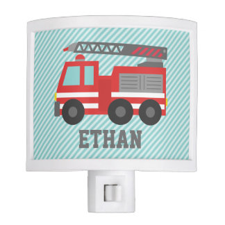 Cute Red Fire Truck for Boys Bedroom Night Light