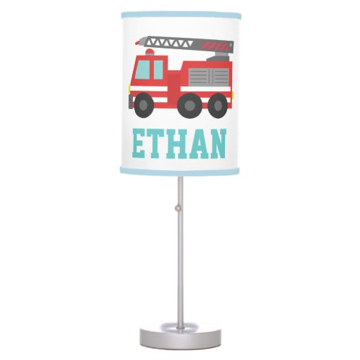 Boy Truck Lamp : Cute red fire truck for boys bedroom table lamps zazzle
