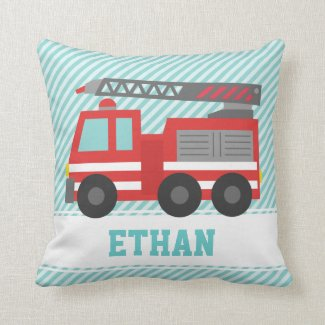 Cute Red Fire Truck for Boys Bedroom Throw Pillows