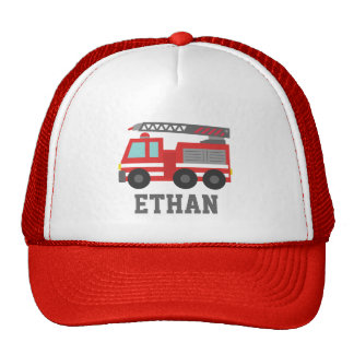 Cute Red Fire Truck for Boys, Name Mesh Hats