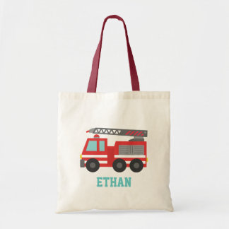 Cute Red Fire Truck for Boys, Name Tote Bag