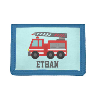 Cute Red Fire Truck for Boys, Name Tri-fold Wallets