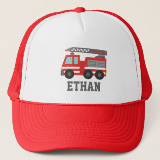 Cute Red Fire Truck for Boys, Name Trucker Hat