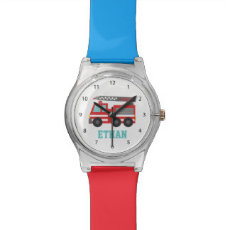 Cute Red Fire Truck for Boys, Name Wrist Watch