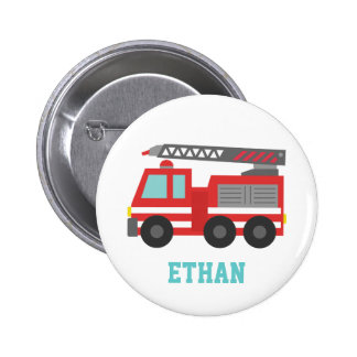 Cute Red Fire Truck for Little Fire fighters Pinback Button