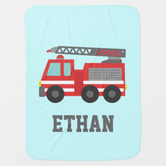 Cute Red Fire Truck for Little Fire fighters Receiving Blanket