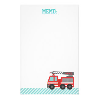 Cute Red Fire Truck for Little Fire fighters Personalized Stationery