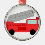 Cute Red Firetruck Metal Ornament