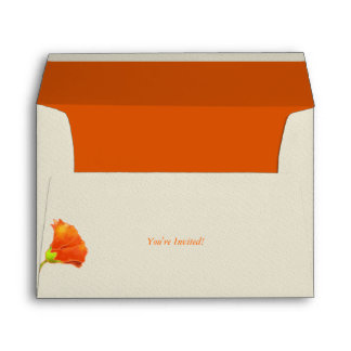 Cute Red Floral Wedding Invitation A7 Envelopes