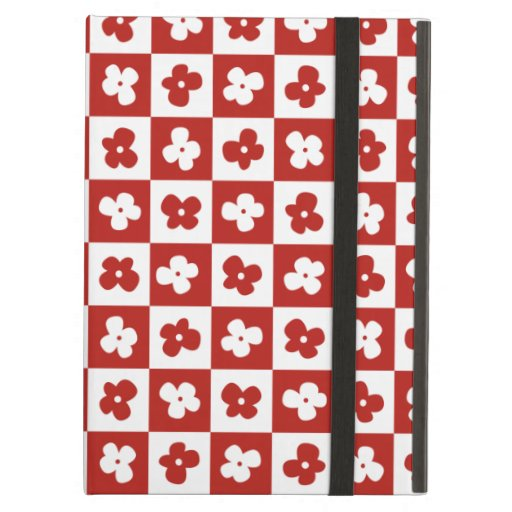 Cute Red Flower Pattern with Caro Background Case For iPad Air