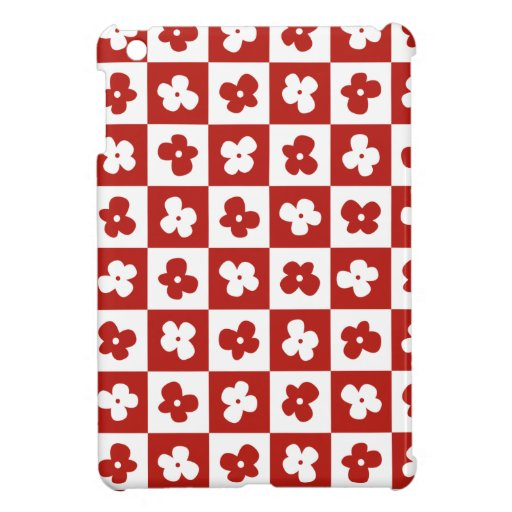 Cute Red Flower Pattern with Caro Background Case For The iPad Mini