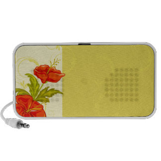 Cute Red flowers and khaki floral speaker
