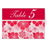 Cute red flowers Table Number Card