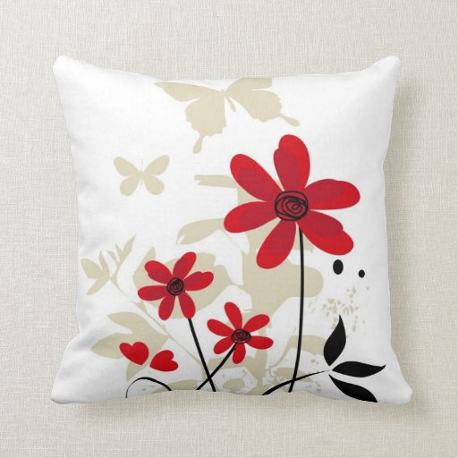 Cute red flowes and butterflies throw pillow Zazzle