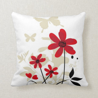 Cute red flowes and butterflies throw pillow