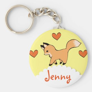 Cute Red Fox and Hearts Basic Round Button Keychain