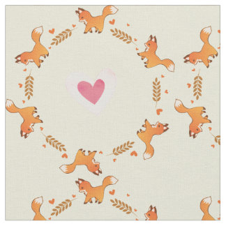 Cute Red Fox and Hearts Wreath Pattern Fabric