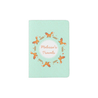 Cute Red Fox and Hearts Wreath Pattern Passport Holder